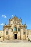 Hermosa vista de la iglesia barroca de Assisi del ` de San Francisco d en Matera, Italia fotografía de archivo libre de regalías