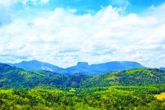 Hermosa vista de la montaña famosa Lion Mountain entre la selva tropical, Sri Lanka de Sigiriya Fotos de archivo libres de regalías