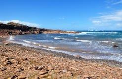 Hermosa vista de la playa de la isla de Menorca - viaje asombroso a Balearic Island en España Imagen de archivo