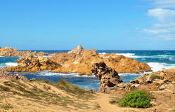 Hermosa vista de la playa de la isla de Menorca - viaje asombroso a Balearic Island en España Fotos de archivo
