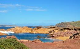 Hermosa vista de la playa de la isla de Menorca - viaje asombroso a Balearic Island en España Fotografía de archivo