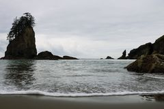 Hermosa vista de la playa en el parque nacional ol?mpico, Washington, los E.E.U.U. fotografía de archivo