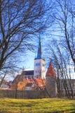 Hermosa vista de la torre Oleviste Churchand la pared de la fortaleza en Tallinn, Estonia Fotografía de archivo