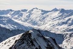 Hermosa vista de las montañas de las montañas, Austria, Stubai imagenes de archivo