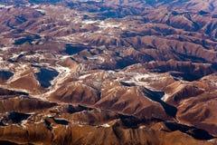 Hermosa vista de los aviones a las montañas del Himalay Fotografía de archivo