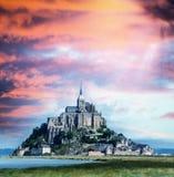 Hermosa vista de Mont Saint Michel en Normandie, Francia Fotos de archivo libres de regalías