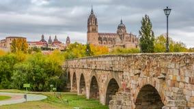 Hermosa vista de Salamanca con el puente y la catedral romanos, España imágenes de archivo libres de regalías