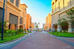 Hermosa vista de una calle en la perla Qatar imágenes de archivo libres de regalías