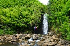 Hermosa vista de una cascada situada a lo largo del camino famoso a Hana en la isla de Maui, Hawaii Imagen de archivo