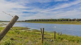 Hermosa vista de una cerca del alambre de púas con los polos de madera y el río Mosa imagenes de archivo