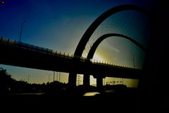Hermosa vista de una puesta del sol en Qatar imágenes de archivo libres de regalías