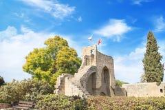 Hermosa vista del faro famoso en el fuerte Galle, opinión de Sri LankaBeautiful de la construcción de la abadía de Bellapais en K Fotos de archivo libres de regalías
