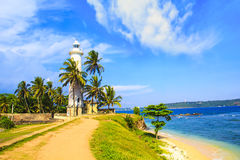 Hermosa vista del faro famoso en el fuerte Galle, Sri Lanka Fotos de archivo