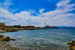Hermosa vista del mar Mediterráneo de la isla Naxos en Grecia imagen de archivo