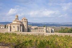 Hermosa vista del monasterio antiguo de Poblet y de un viñedo adentro imagenes de archivo