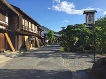 Hermosa vista del pueblo de Tsumago-juku en el camino de Nakasendo en Japón imagen de archivo