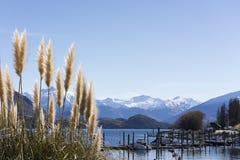 Hermosa vista en el lago escénico Wanaka, Nueva Zelanda El lago Wanaka es un destino turístico atractivo en la isla del sur fotografía de archivo