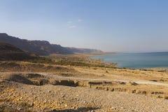 Hermosa vista en la costa de mar muerta Fotos de archivo libres de regalías