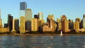 Hermosa vista en la opinión inolvidable de Manhattan Fondo agradable del paisaje almacen de metraje de vídeo