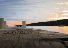 Hermosa vista en paisaje del mar con puesta del sol Fotografía de archivo libre de regalías