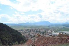 Hermosa vista a la ciudad de Rushnov imagen de archivo