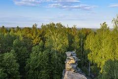 Hermosas vistas del bosque con el canto de piedra Fotos de archivo libres de regalías