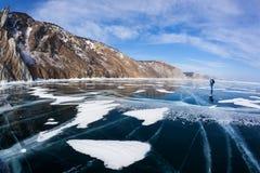Hermosas vistas del invierno del lago Baikal Fotos de archivo
