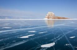 Hermosas vistas del invierno del lago Baikal Fotos de archivo libres de regalías