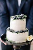 Hermoso adorne el pastel de bodas en manos del novio Foto de archivo