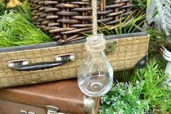 Hermoso diseño en el parque - maletas del vintage con las botellas, las placas y la cesta en hierba Foto de archivo libre de regalías