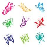 Hermoso, mariposa, vector, sistema, estilo del bosquejo, fondo blanco Foto de archivo libre de regalías