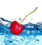 Hermoso salpica un agua potable y una fruta Imágenes de archivo libres de regalías