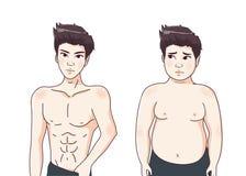 Hermoso y el individuo gordo stock de ilustración