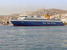 Blue Star Paros Ferry Ship Moored In Syros Island. Editorial Image. stock photography