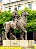 Hernan Cortes, bronze sculpture, Caceres, Extremadura, Spain. Image of Hernan Cortes, conqueror of Mexico, bronze sculpture in the center of Cáceres royalty free stock image