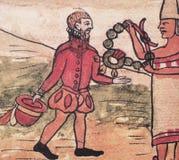 Hernan Cortes ed i suoi alleati di Tlaxcalan illustrazione di stock