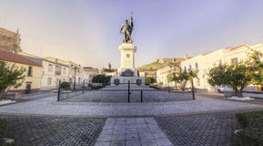 Hernan Cortes Square, Spain. Hernan Cortes Square, Medellin, Spain. Panoramic shot Royalty Free Stock Photography