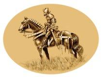 Hernan Cortez. Portrait of conquistador Hernan Cortez and his horse 'El Morzillo stock illustration