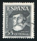 Hernando Cortez. SPAIN - CIRCA 1948: stamp printed by Spain, shows Hernando Cortez, circa 1948 Royalty Free Stock Images