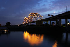 Hernando De Soto Bridge At Night In Memphis Tennessee Royalty Free Stock Photography