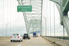 Hernando de Soto bridge. I-40 Interstate through Hernando de Soto bridge and Mississippi river in Memphis Royalty Free Stock Photos