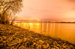 Hernando de Soto Bridge - Memphis Tennessee at night Stock Photos