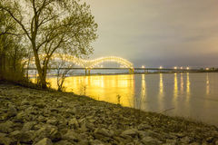 Hernando de Soto Bridge - Memphis Tennessee at night Stock Photo