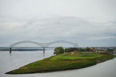 Hernando de Soto bridge and muddy island Stock Photography