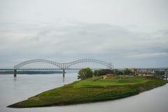 Hernando de Soto bridge and muddy island. I-40 Interstate through Hernando de Soto bridge and Mississippi river in Memphis Stock Photography