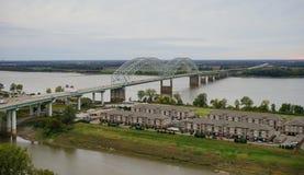 Hernando de Soto bridge and muddy island. I-40 Interstate through Hernando de Soto bridge and Mississippi river in Memphis Royalty Free Stock Images