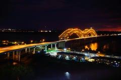 Hernando de Soto bridge. Night view of I-40 Interstate through Hernando de Soto bridge and Mississippi river in Memphis Royalty Free Stock Image