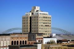 Hernando de Soto Bridge seen from downtown. Of Memphis, Tennessee Stock Photography