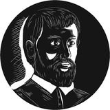 Hernando de Soto Explorer Circle Woodcut Royalty Free Stock Images