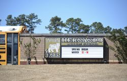 Hernando Mississippi Middle School. Hernando Middle School is located in Hernando Mississippi outside of Memphis and is the home of the Tigers Royalty Free Stock Image